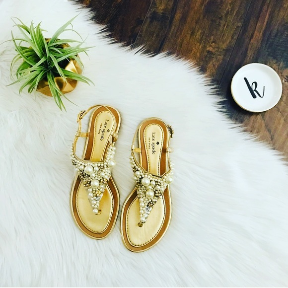 4950cf23a0c kate spade Shoes - Kate Spade Imani Pearl Cluster Gold Thong Sandal